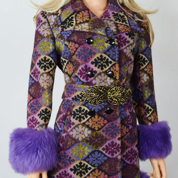 Vintage 1960's Colorful Carpet Embroidered Tapestry Purple SHEARLING TriMMeD HiPPiE BoHo Coat Size M