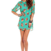 Autumn Leaf Shift Dress in Green :: tobi