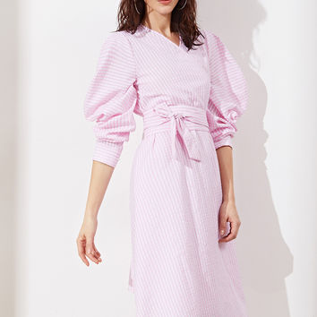 Pink Striped Puff Sleeve Wrap Dress