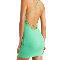 Textured Strappy-Back Bodycon Dress by Charlotte Russe - Green