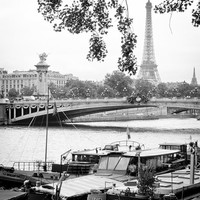 Paris Photography, Port Des Tuileries - Eiffel Tower Print - Black and White Wall Decor - Paris, France - Boat, Seine
