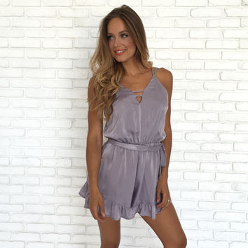 Always Forgiving Satin Ruffle Romper In Lilac
