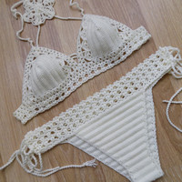 Crochet swimwear,Off White cream  Crochet Bikini Brazilian Crochet Swimsuit -Crochet Bathsuit -Crochet Lace Swimwear,Sexy Bikini,Swimsuits