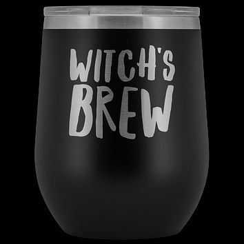 Witch's Brew Halloween Wine Tumbler Funny Fall Gifts for Friends and Witches Stemless Insulated Hot Cold BPA Free 12oz Travel Sippy Cup