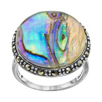 Tori Hill Abalone & Marcasite Sterling Silver Halo Ring (Grey)