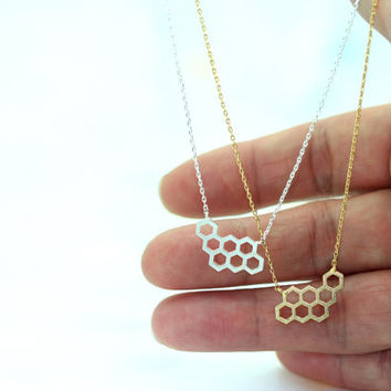 Honeycomb Necklace(gold, silver)