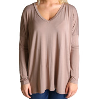 Taupe Piko V-Neck Long Sleeve Top
