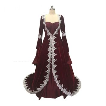 Long Sleeves Muslim Evening Dresses with Jacket Velvet Evening Gowns  Lace Edge Dress