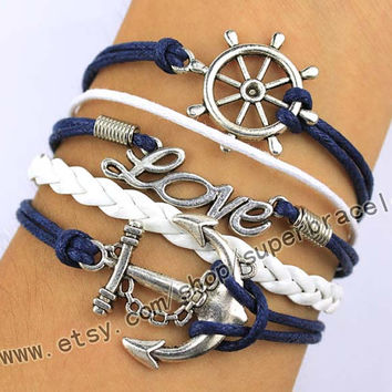 Anchor, LOVE, rudder, nautical Bracelet, Antique Silver Bracelet, Bracelet, daily fashion charm Bracelet, the gift of friendship