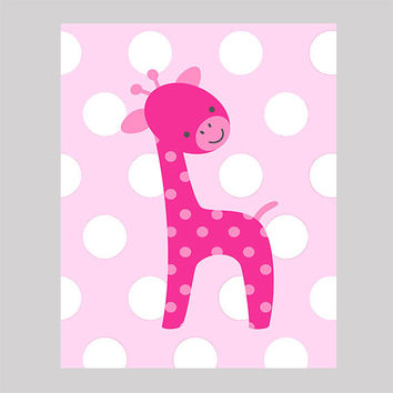 Hot Pink Giraffe on Pink Dots Nursery Decor Baby Print Bathroom Art CUSTOMIZE YOUR COLORS 8x10 Prints Nursery Decor Art Baby Room Decor Kids