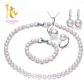 [NYMPH]Pearl 5pcs Jewelry Sets Neacklaces Pendant Bracelet Earrings Ring For Women Natural baroque Freshwater Pearls Wedding