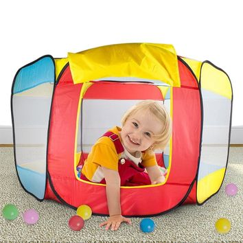 Playhouse Outdoor Fun Sports Kids Pop-up Tent Folding Ball Pit Hideaway Tent Play Hut Tent for Kids Play House