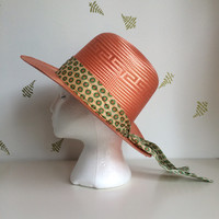 1960's Mexican Women's Hat / Peach Straw Hat / Pastel Floral Scarf / Vintage 60s