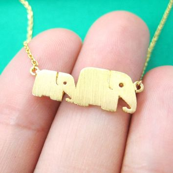 Mother and Baby Elephant Animal Silhouette Pendant Necklace in Gold | DOTOLY
