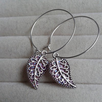 closing sale - pink glitter Leaf silvertone Creole Hoop Earrings