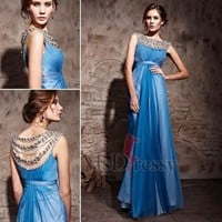 Princess Bateau Floor-length Chiffon Prom Dress at Msdressy
