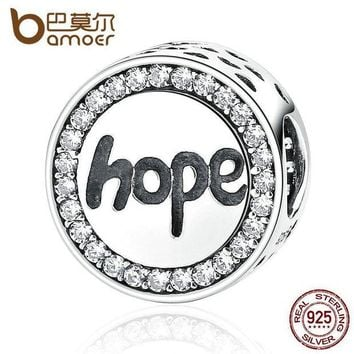 DCCKFV3 BAMOER Real 925 Sterling Silver 'Hope' Letter Alphabet Charm Charms Fit Bracelets & Necklaces For Women Fashion Jewelry SCC088
