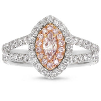 1.03ct 18k Two-tone Rose Gold GIA Certified Marquise Shape Natural Pink Diamond Ring