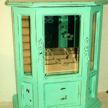 Vintage  Mint Green Jewelry Box with a Distressed Faux Finish
