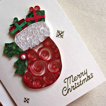 handmade paper quilled Christmas card – Merry Christmas stocking