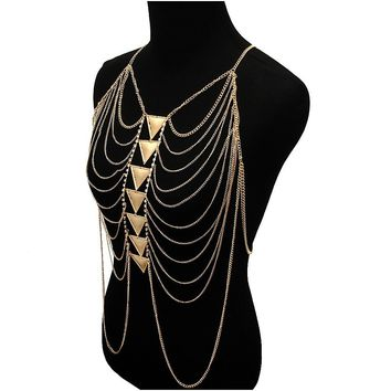 Gold Multi Layered Triangle Chain Body Chain