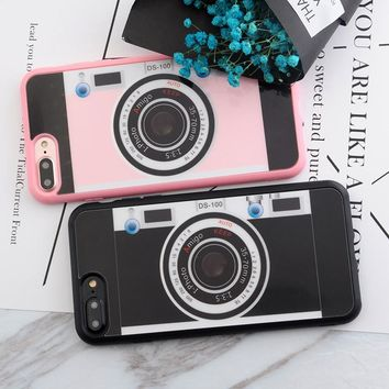 SoCouple Retro Fashion For iphone 8 7 5 5s SE 6 6s 6/7/8 plus Case Soft Silicone Painting Vintage Camera TPU Phone Cases Cover