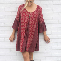 Mystic Gaze Mixed Print Cold Shoulder Bell Sleeve Dress