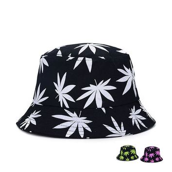 2015 Vogue Hemp leaf Sunscreen cap Basin Caps women Cotton Street Hip Hop Outdoor Maple leaves Fisherman Hiking Bonnie hats