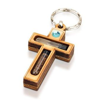 Wood Cross Holy Key Chain
