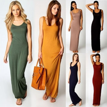 Fashion Women Sleeveless Casual Maxi Tank Dress Plus Size S M L Xl Xxl 3xl Summer Style Sexy Dresses [9305637575]
