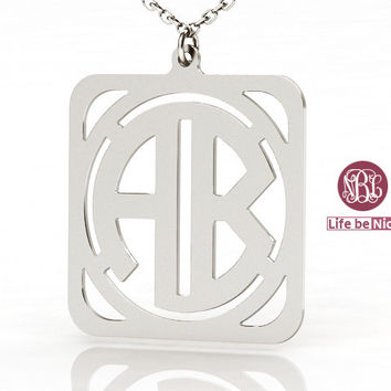 Monogram necklace 1.5 inch 925 sterling silver necklace--square 2 initial monogram necklace
