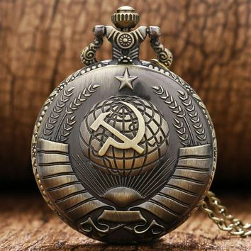 Antique Bronze Soviet Sickle Hammer Style Pocket Watch With Necklace Chain Xmas Best Gift For Men Women Free Shipping