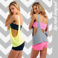 Draped Neon - Women's Workout Gym Tank