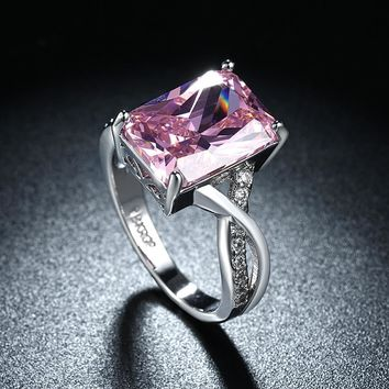 Emerald Cut Pink Crystal Swirl Ring Set in 18K White Gold Plating Made with Swarovski Elements