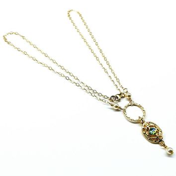 14 KT Gold Filled Filigree Green Crystal Open Circle Necklace