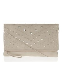 New Look Mobile | Grey Chevron Stud Fold Over Clutch