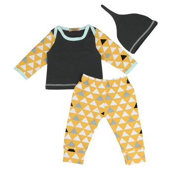 3 pieces set Newborn Infant Baby Boy Geometric T shirt Tops+Pants+Hat Outfits Clothes Set drop shipping