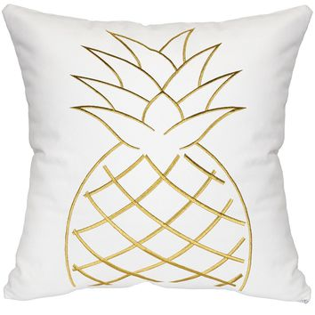 Pineapple Throw Pillow - White & Gold