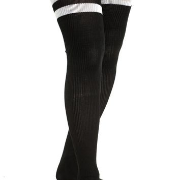 Vintage Deadstock American Apparel Black With White Thigh High Tube Socks