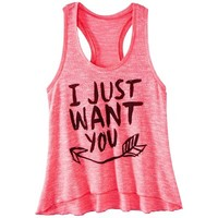Juniors I Just Want You Graphic Sweater Tank - Pink