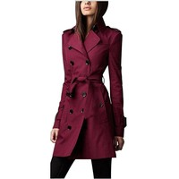 Edgy Red Double Breasted Light Weight Trench Coat