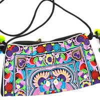 Hearts and Lovebirds: Embroidered Shoulder Bag with Tassels