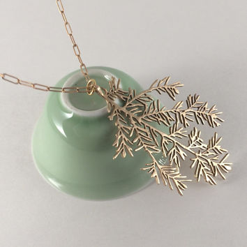 hemlock needle necklace, botanical designs, eastern hemlock tree, bronze pendant and chain, 3D printed leaves