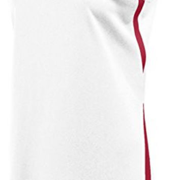 Nike Dri Fit Hyper Elite Jersey - Women's Athletic Baseball Sleeveless T-Shirt (White/Cardinal, Medium)