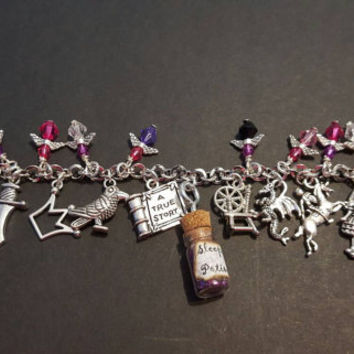 Disney Maleficent / sleeping beauty inspired tibetan silver charm bracelet