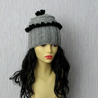 Hand knitted ladies slouchy beanie, Womens Hats Trendy - Grey - Crochet Hat - Spring Fall Fashion - OOAK