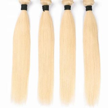 Brazilian Straight Hair Bundles Weave  Blonde Color Non Remy 100% Human Hair Extensions 10-28 Inch