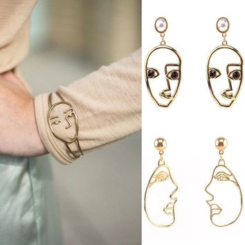 Hollow open face mask bracelet and earrings set