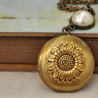 PETITE SUNFLOWER LOCKET, vintage brass locket necklace with vintage pearl cab