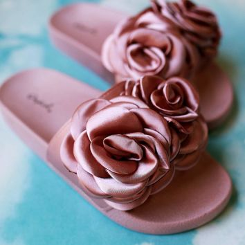 Qupid Satin Rosette Applique Slide Sandal